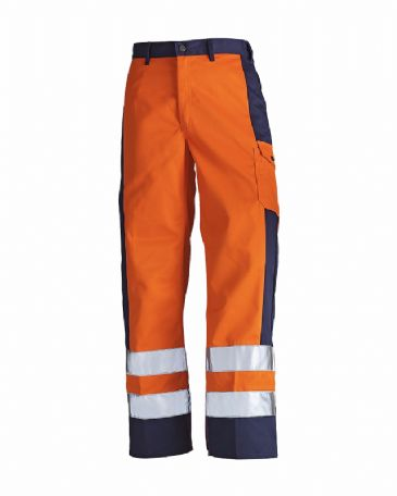 Blaklader 1583 High Visibility Trousers (Orange/Navy Blue)